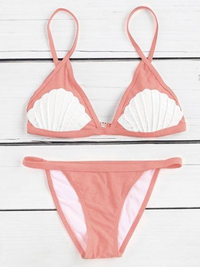 Set bikini en triángulo con estampado de concha en contraste