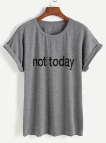 Letter Print Cuffed T-shirt