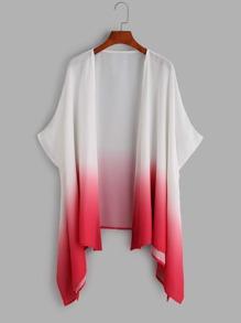 Ombre Dolman Sleeve Asymmetric Kimono