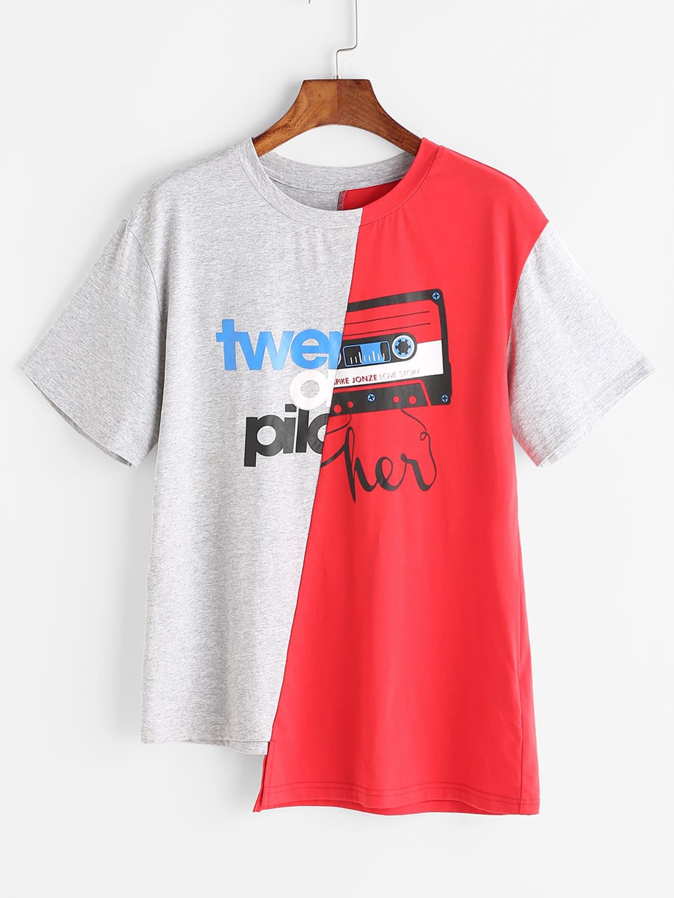 Фото Contrast Graphic Print Asymmetric T-shirt. Купить с доставкой