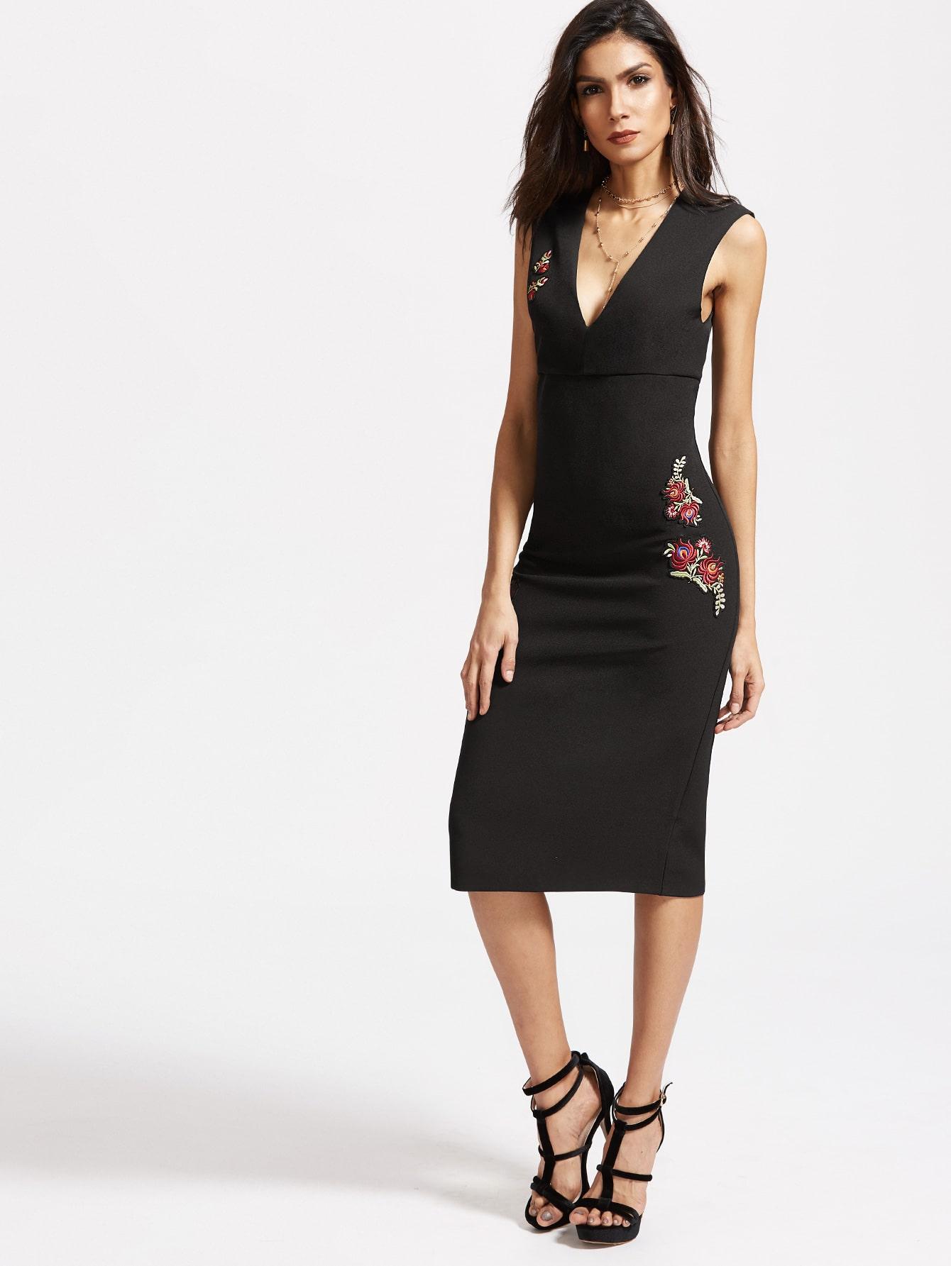 Фото Black Flower Embroidery Split Back Dress. Купить с доставкой