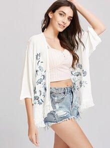 Kimono à bordure frangée à fleurs blanches