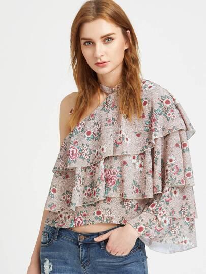 Khaki eine Schulter geschichtete Rüsche Bluse