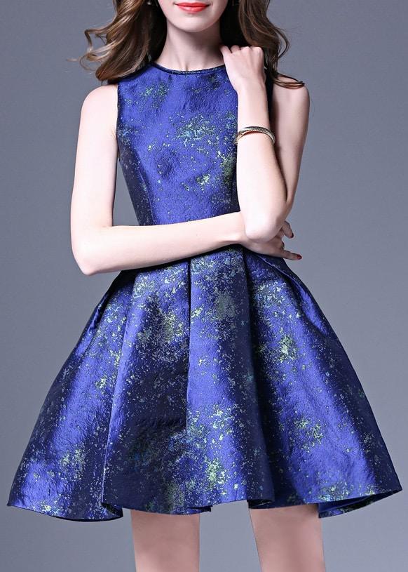Фото Blue Crew Neck Jacquard A-Line Dress. Купить с доставкой