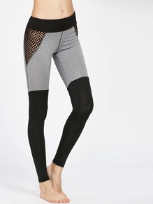 Color Block Fishnet Mesh Insert Leggings