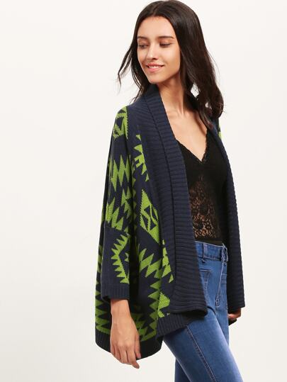Green Geometric Pattern Sweater Cardigan