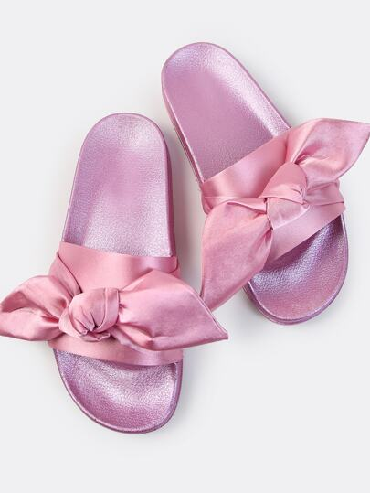 Satin Bow Slide Sandals PINK