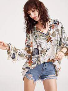 Tropical Print V Neck Fringe Trim Blouse