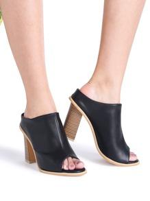 Zapatos de tacón grueso pu - negro