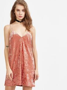 Pink Adjustable Strap Velvet Cami Dress