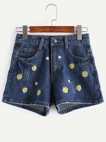 Shorts en denim brodé fleur bleu foncé