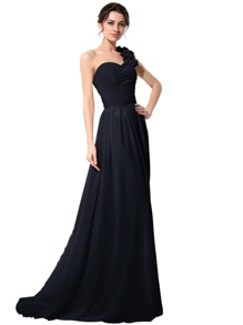 Navy One Shoulder Flower Trim Maxi Chiffon Bridesmaid Dress