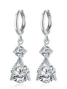 Silver Rhinestone Drop Earrings