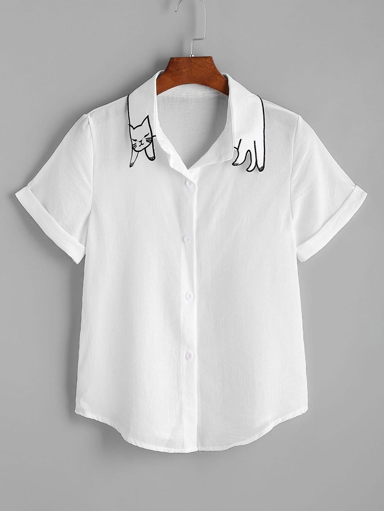Фото Cat Shape Collar Cuffed Curved Hem Shirt. Купить с доставкой