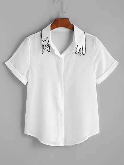 Cat Shape Collar Cuffed Curved Hem Shirt