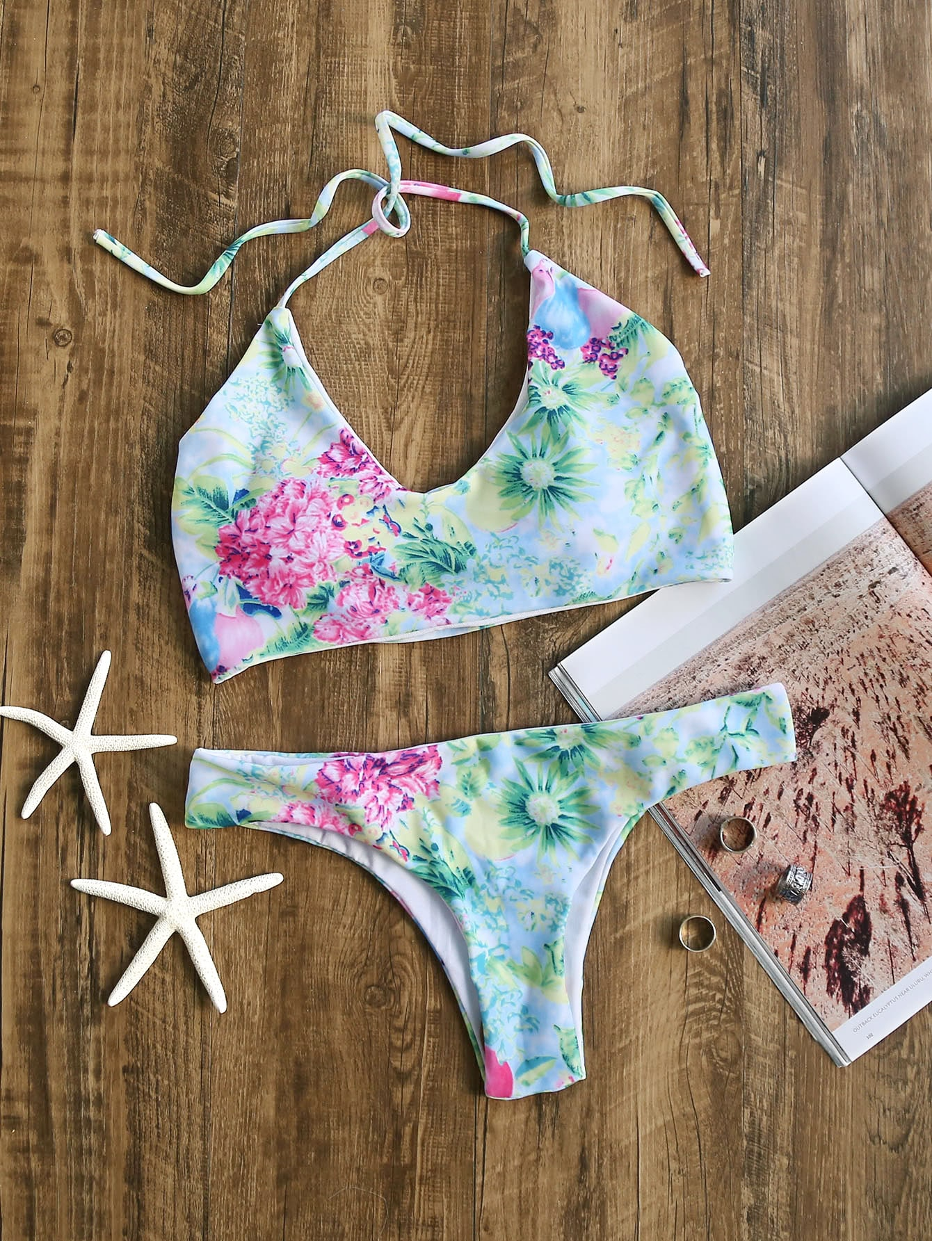 Floral Print Halter Bikini Set swimwear170208312