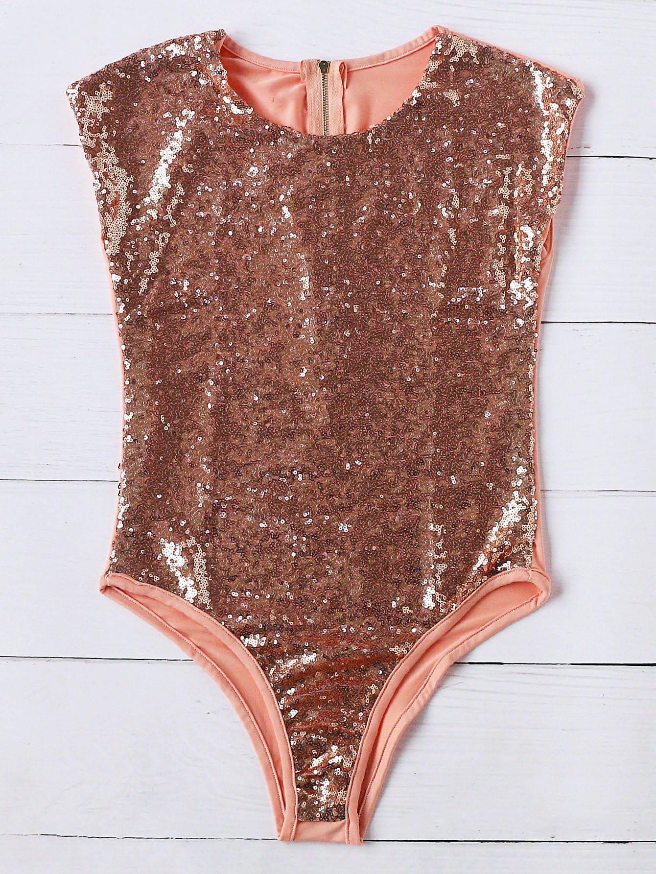 Gold Zipper Back Sequin One-Piece Swimwear
