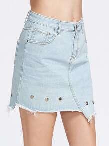 Asymétrique effet de lavage de jupe avec œillets en denim - bleu