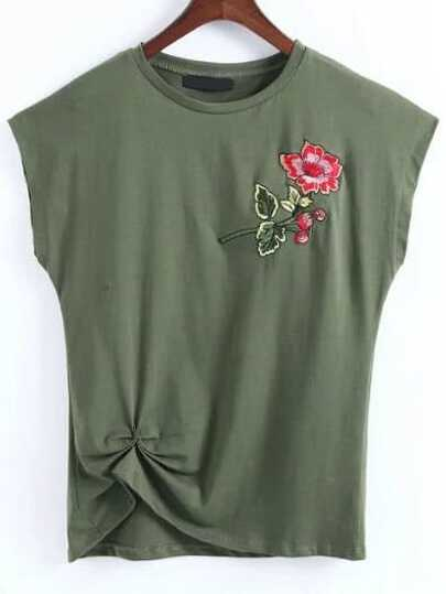 Army Green Flower Embroidery Cap Sleeve T-shirt
