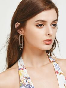 Gold Layered Chain Design Earrings