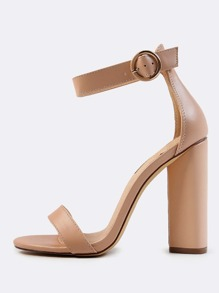 Ankle Strap Triangle Heels NUDE