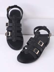 Sandales à talons plats de gladiateur noir avec fermoir