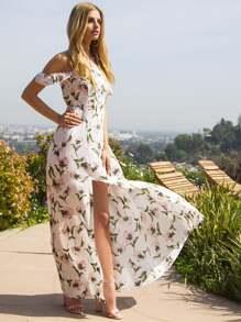 Bardot Ruffle Sleeve Button Slit Dress
