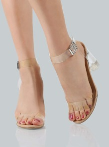Clear Ankle Wrap Strap Heels CLEAR