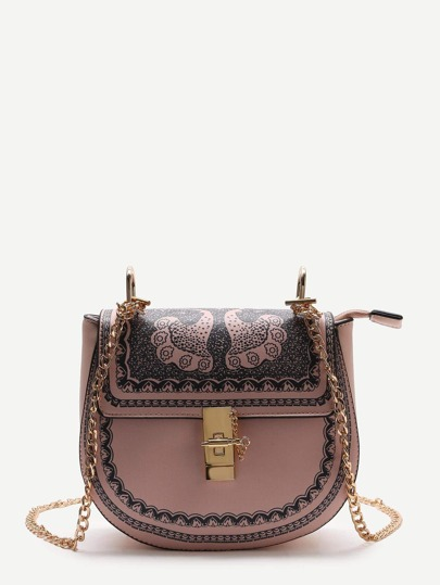 Pink Printed Saddle Bag With Chain