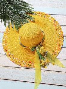 Jaune, texturé, large, bord, sunhat, arc, cravate