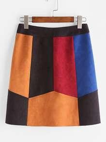 Falda de antelina en panel - color block