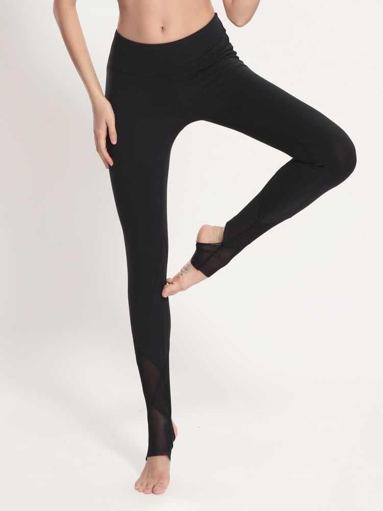 Active Mesh Paneled Stirrup Leggings leggings170328302