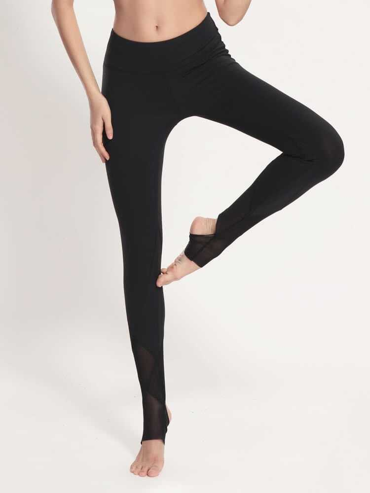 Active Mesh Paneled Stirrup Leggings leggings170328302