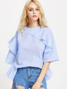 Flounce Trim Layered Ruffle Sleeve Gingham Top pictures