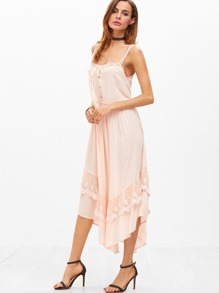 Lace Strap Button Front Embroidered Mesh Trim Handkerchief Dress