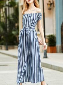 Vestido a rayas con hombros descubiertos y cordón en cintura-azul
