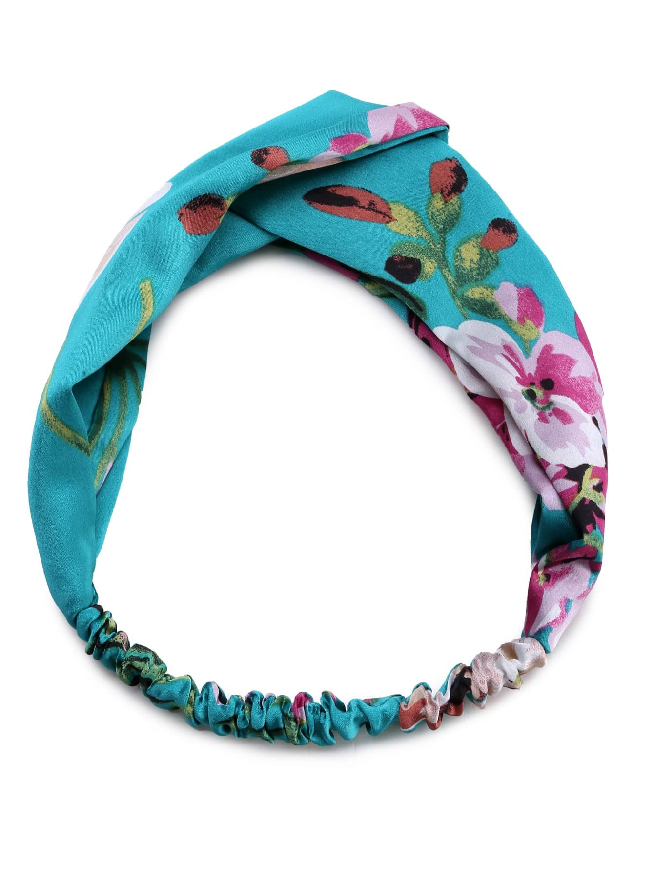 Фото Green Floral Print Square Headband. Купить с доставкой
