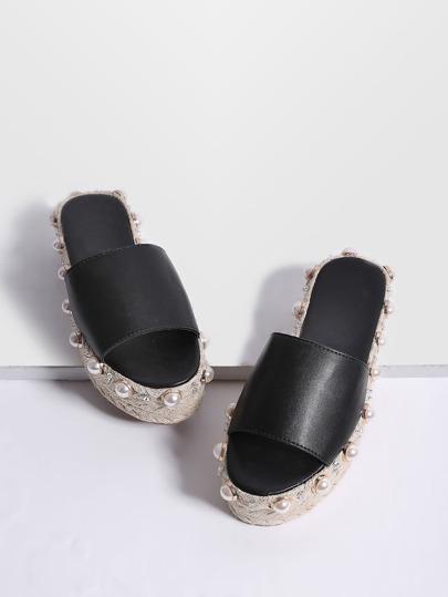 Black Faux Pearl Espadrille Flatform PU Slippers