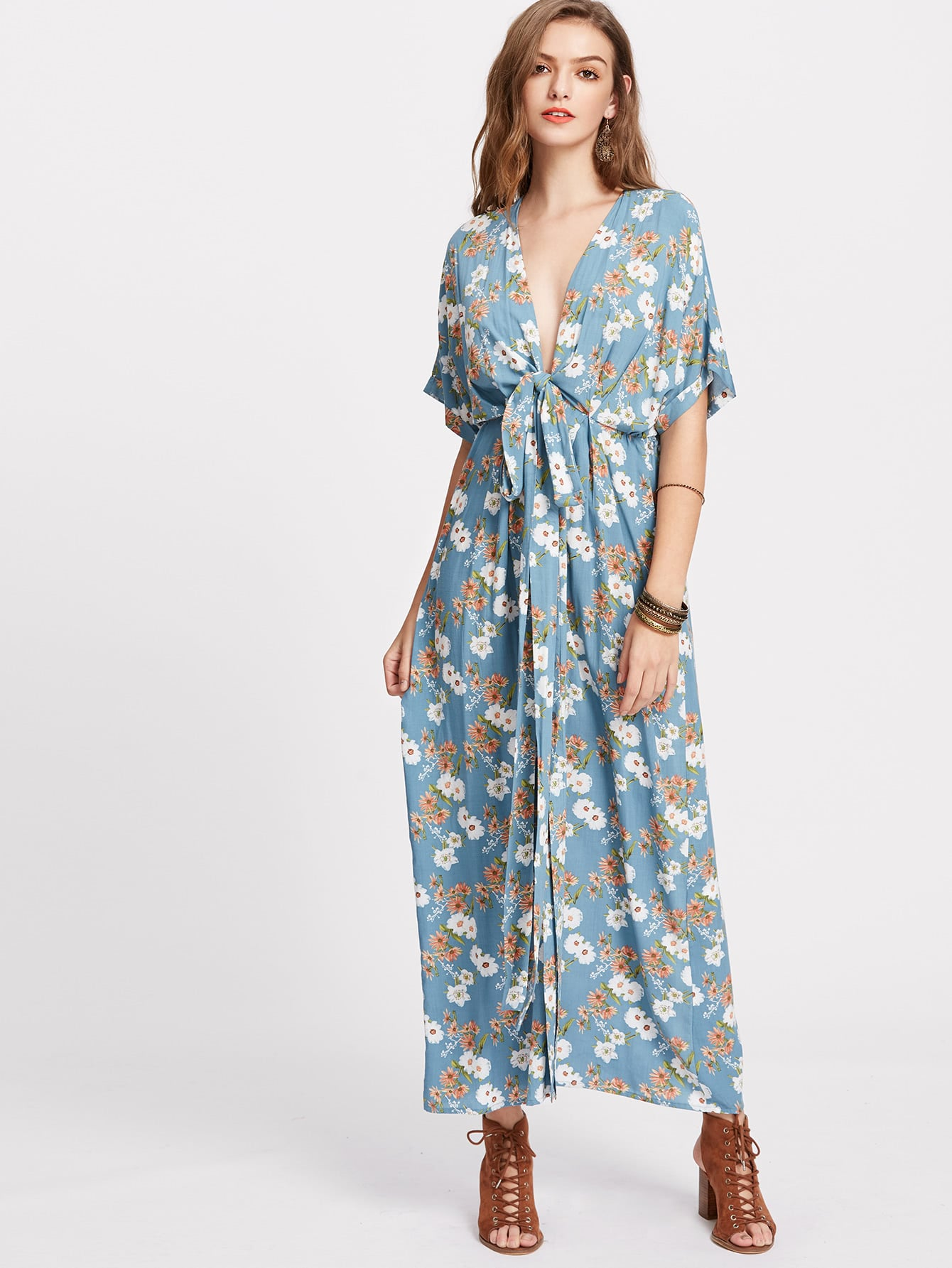 Фото Flower Print Knot Plunge Neck Kimono Dress. Купить с доставкой