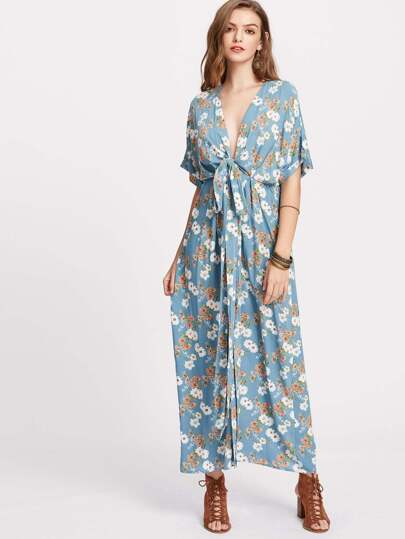 Flower Print Knot Plunge Neck Kimono Dress
