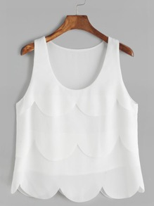 White Layered Scallop Tank Top