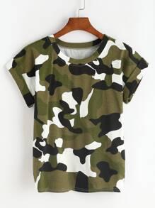 Camo Print Cuffed T-shirt