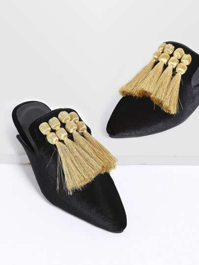 Black Fringe Detail Point Toe Flat Slippers