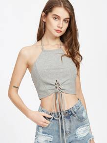 Heather Knit Lace Up Front Halter Top