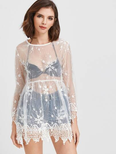Flower Embroidered Sheer Mesh Cover Up