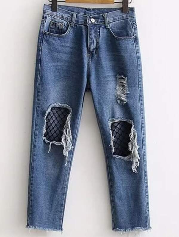 Blue Contrast Mesh Ripped Detail Jeans, null