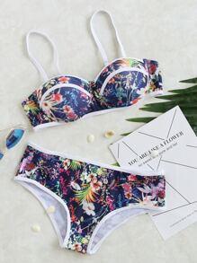Ditsy Print Contrast Trim Bikini Set