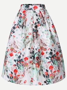 High Waist Zipper Back Box Pleated Volume Skirt