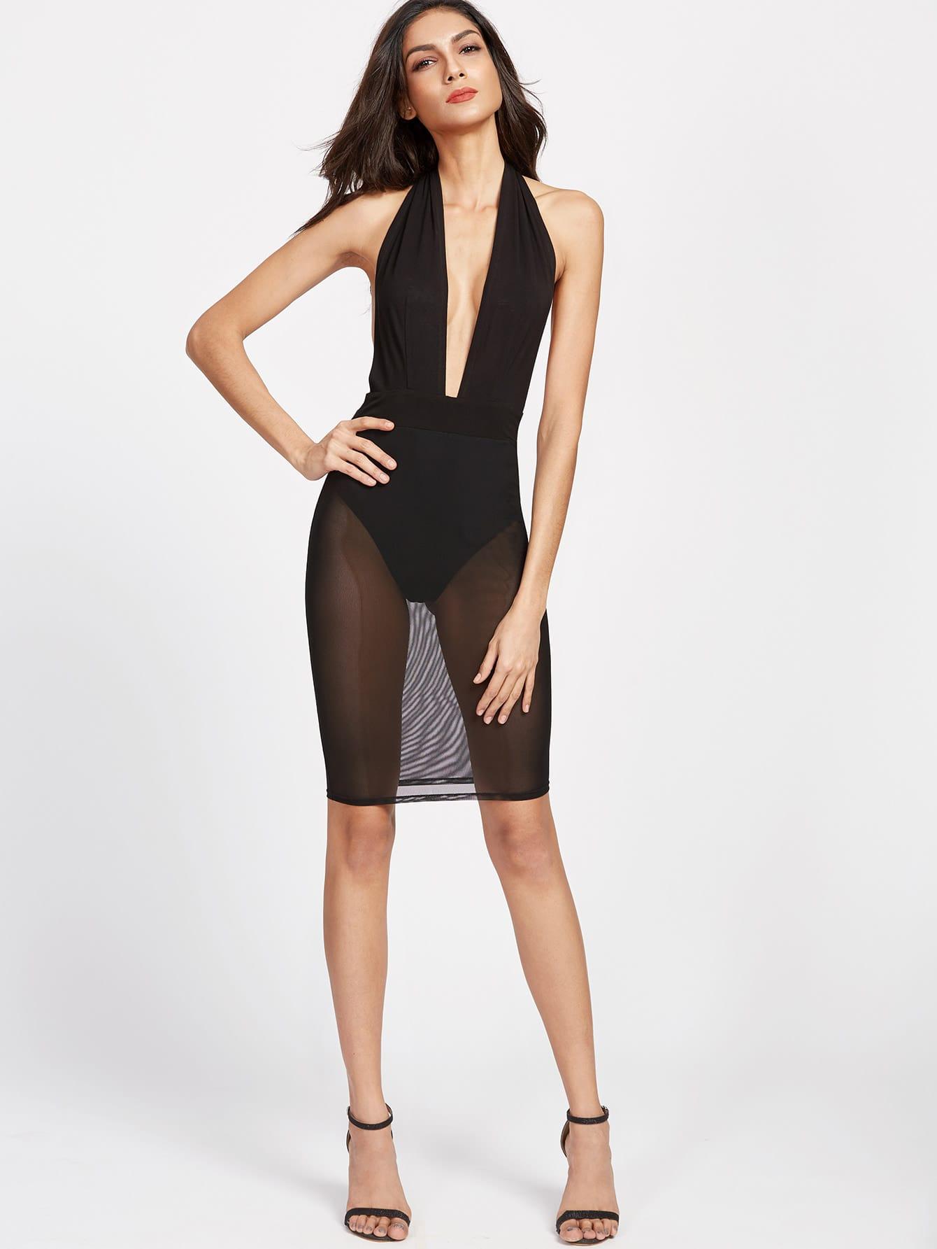 Plunge Halter Neck Backless Mesh Bodysuit Dress Shein