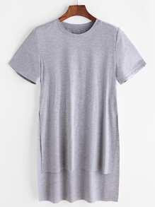 t-shirt asymétrique avec ouverture - gris